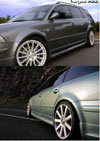 Накладки на пороги + накладки на двери VW Passat (09.2000-03.2005). Материал: стекловолокно.